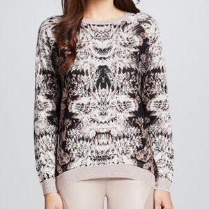 BCBG Maxazria Knit Silk Sweater Black Brown M L